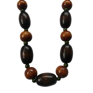 Vintage Wooden Bead Necklace, Brown/Green